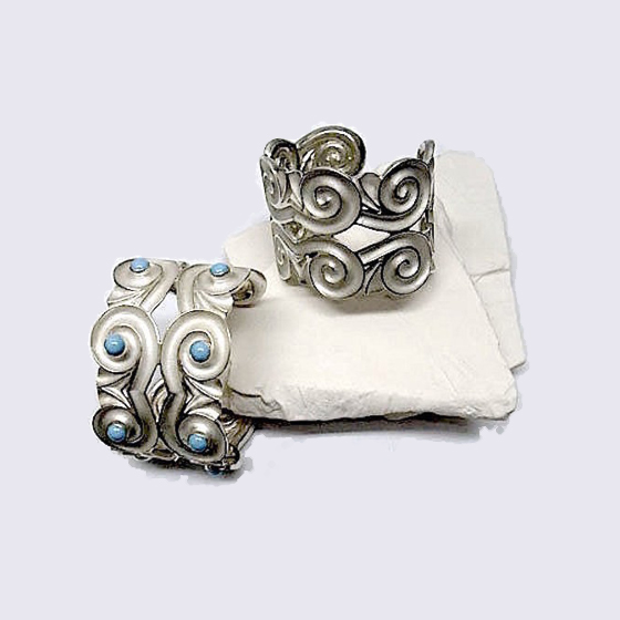 Athena Double Cuff Bracelet, sterling silver or sleeping beauty turquoise stones